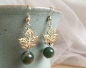 Golden Leaf Earrings, Wedding Jewelry, New Leaf Earrings, Gold and Green Earrings, 14K Italian Gold Hooks, Hypoallergenc, Tarnish Resistant