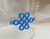 Blue Lucky Knot Pendant, Blue Pendant, Necklace, Modern Jewelry, Party Jewelry, Oriental Pendant