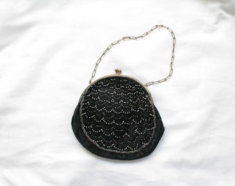 1920s Beaded Black Velvet Mini Purse | Vintage Antique 20s Kisslock Evening Purse