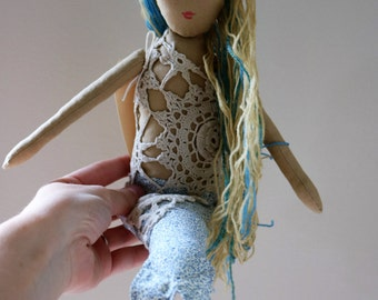 Blue Summer Mermaid - Handmade Heirloom Cloth by the Evergreen Doll Company