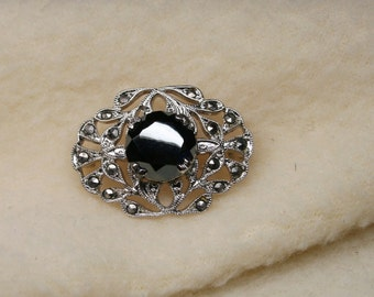 Vintage Early 1900's Sterling Silver Art Deco Brooch Pin - Marcasite - Delicate Silver Filigree