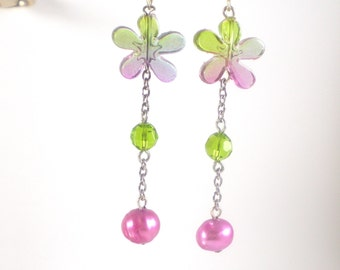 Romantic Flower Earrings , Pearl Glass Lucite Earrings , Green Lavender Earrings , Recycled Ooak Unique Earrings Colorful Earrings