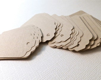 Rustic Light Brown Gift Tags, Wedding Favor Tags, Scrapbooking Tags, Embellishments, Thank You Tags - hand punched on card stock - 50 tags