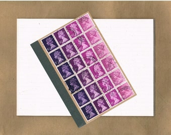 Plum Purple Ombre, Kraft Notebook | lined a6 bullet journal | upcycled retro British Machin postage stamps | mail art stationery writer gift