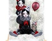 Clown ACEO Card - Circus Twins & Cat - Trio