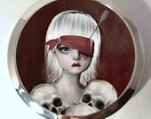 Compact Mirror - Silver Tone pocket Mirror - Lucky