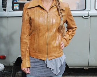 Vintage Women's Short Tan Leather Jacket