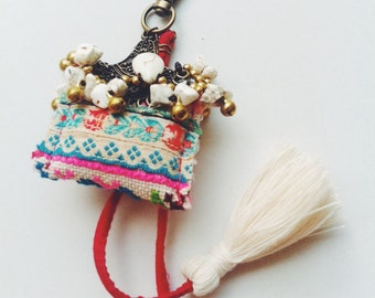 Keychain Trible fabric , Stone Beads  , Tassel and  small bell