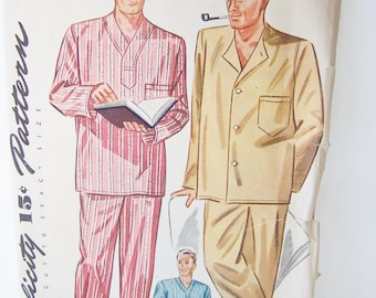 Vintage Simplicity 1202 Sewing Pattern, Men's Classic Long or Short Pajamas Drawstring Waist PJ's, Long or Short Sleeve Pyjama Chest 34 - 36