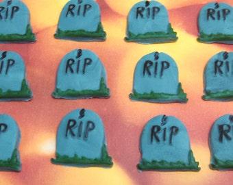 Fondant Headstones-Fondant Gravemarkers-Set of 12-RIP Headstones-Cupcake Toppers