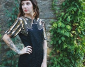 Vintage Gold and Black Sequined Flapper Dress with Bold Shoulder Design and Key Hole Back Detail Size 4 Petite Small