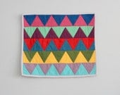 Baby Blankie, Lovey, Security Blanket, Baby Quilt - Modern Patchwork Colorful Triangles