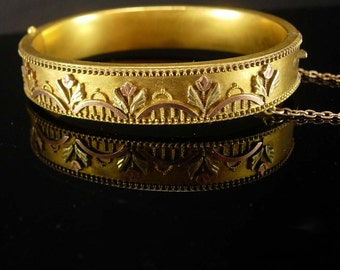 Antique Victorian Bracelet Rose and yellow gold filled wedding bangle  hinged vintage floral jewelry