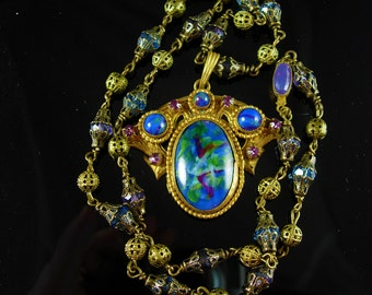 Vintage Art Nouveau Necklace Czech necklace art glass and brass peacock necklace Antique necklace jewelry purple paste rhinestones