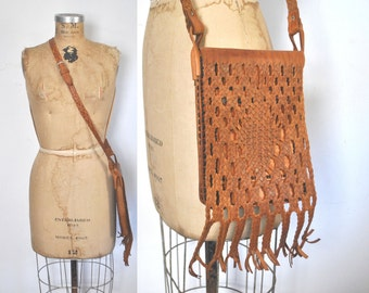 1970s Leather Purse / Brown Woven Bag / boho festival