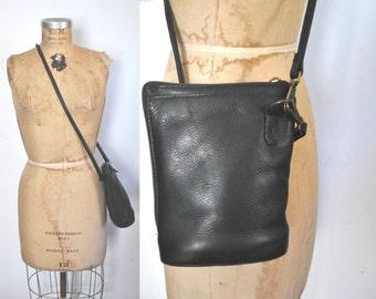 Black Leather Crossover Bag / shoulder Purse