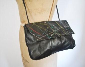 Splatter PAINT Genuine leather Clutch or Shoulder Strap purse bag