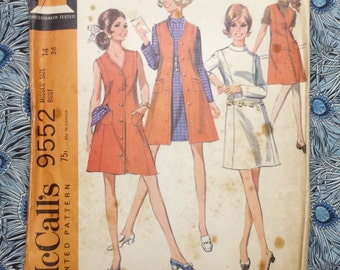 """McCall's 9552, vintage sewing pattern, 1968, size 14, bust 36"""""""