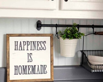 HAPPINESS IS HOMEMADE Handpainted Sign, Handmade, 12x12, Wall Sign, Cottage Decor, Kitchen, Wall Gallery
