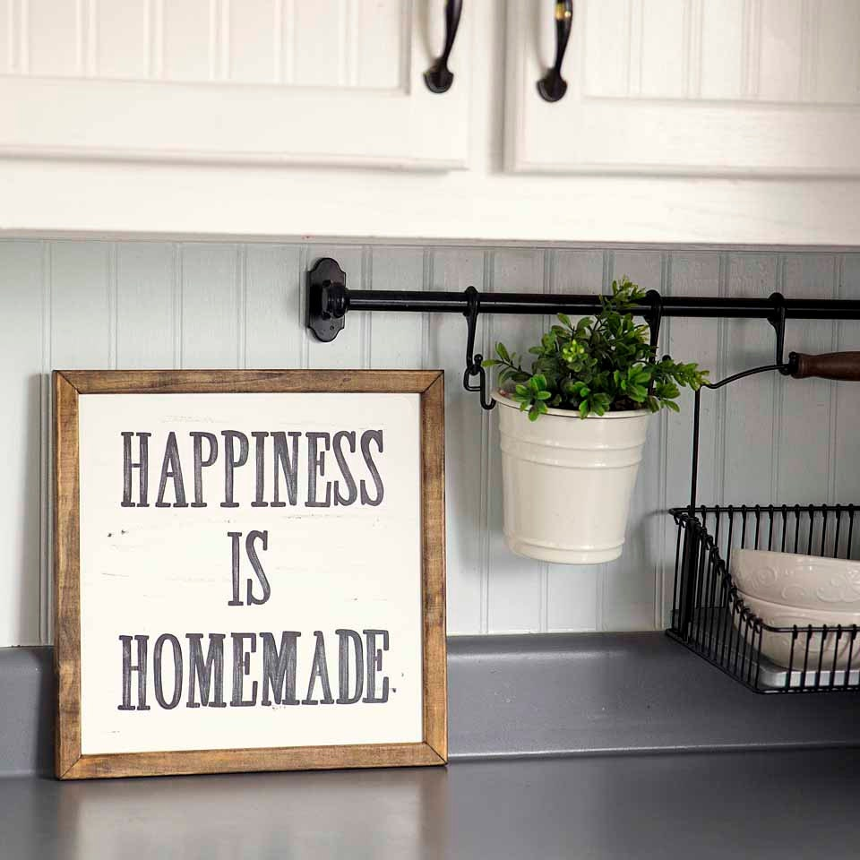 Accessories For Kitchen Walls: HAPPINESS IS HOMEMADE Handpainted Sign Handmade 12x12 Wall