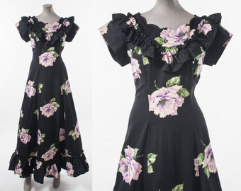 1930s Long Black Cotton Dress with Purple Roses, Vintage 30s Black Party Dress with Rose Print