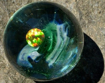 Glass Marble with Encased 6 mm Black Opal Planetoid in a Sparkly Stardust Swirl Galaxy - Handblown