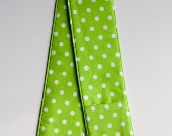 Camera Strap Cover - includes padding and lens cap pocket - Lime Dot