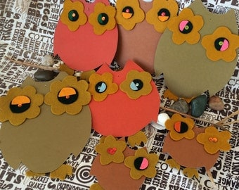 Vintage Owl Collection of 7 Handmade Big Eyed Bird Decorations 60's 70's Paper Card Stock, Felt, Sequins
