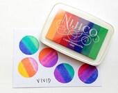 vivid nijico ink pad. multi colored rainbow rubber stamp ink pad. water based archival pigment paper ink. embossing. diy scrapbooking