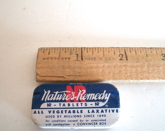 Vintage Tin Natures Remedy All Vegetable Laxative 1 And  3/4 Inches  X 1 Inch