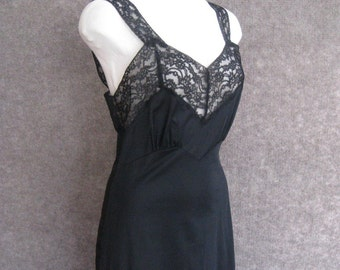 50s Vintage Black Nylon Full Slip Fischer Heavenly Lingerie, Peek A Boo Lace Bodice, Lace Straps & Hem, Burlesque Pin Up, Bust 34