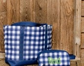 Personalized Duffel Bag, Travel Accessory Kit, and Tote Bag- Blue Gingham
