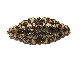 Hand Enameled Hair Ornament/Barrette with Vintage Look in Purple