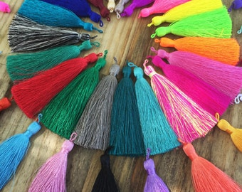 "3"" Long Loop Luxe Silk Tassels with Solid Binding, each / Handmade Tassels, Jewelry Tassels, Tassel, Tassel Pendant, Adornments"