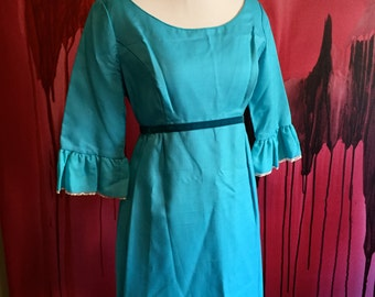 Lorrie Deb San Francisco Vintage 1960s Bridesmaid Dress in Blue with Velvet Trim, Size 11 Full Length Dress, Vintage Aqua Lorrie Deb, SALE