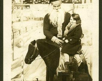 Creepy Santa - Zeppelin Overhead - Girl on Miniature Horse - Weird Unusual 1929 RPPC