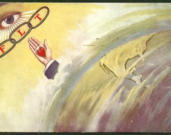 Odd Fellows IOOF Fraternal Organization - All Seeing Eye - Antique Postcard