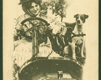 Jack Russell Terrier & Beauty in Automobile - 1912 Postcard
