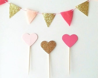 12+ Hot Pink and Gold Heart Cupcake Topper - Gold Glitter Cupcake Heart - Pink Birthday Party Picks Cake Topper Pink and Gold Cupcake Topper