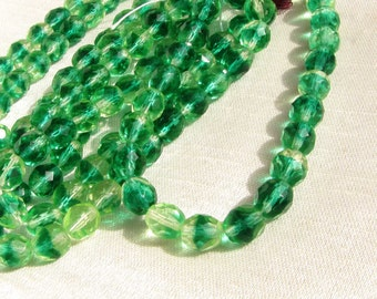 Green Faceted Crystal Czech Beads Green Clear 7 mm beads 1 Strand Necklace Bracelet Earring Jewelry Supply #126