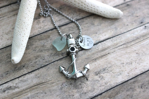 Cremation Urn Pendant - Anchor with Rope - Stainless Steel with Genuine Sea Glass - Forever in my heart - Personalized beach memorial Charm