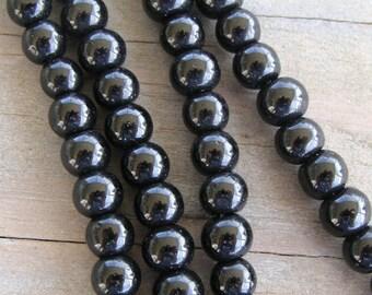 "6mm Black Obsidian Beads 16"" Strand - Natural Genuine 6 mm Gemstone Rainbow Jet Gem Stone Polished Rock Pearl Round Small"