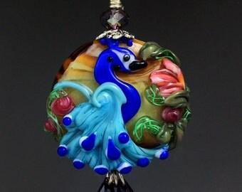 Peacock Palace custom handmade lampwork bead pendant SRA