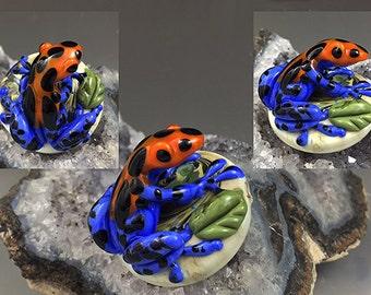 Orange Blue Poison Dart Frog lampwork custom sculpture bead for pendant SRA