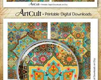 "Printable download ARABESQUES moroccan ornaments digital collage sheet 3.5""x5"" cards for journaling scrapbooking decoupage craft papers"