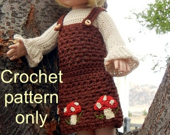 Crochet pattern (PDF) for 10-12 inch child doll - Toadstools - Ann Estelle Patsy Tonner Kish Effner