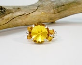 Yellow Topaz Stretch Ring, Crystal Cocktail Ring, Rhinestone Stretch Band Ring, Handmade Ring, Women's Ring, Gifts for Her