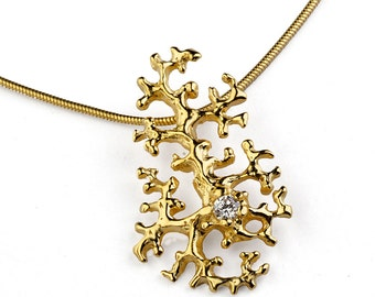 CORAL REEF 14k Gold Diamond Pendant Necklace, Unique Gold Pendant Necklace, Gold Organic Pendant, Diamond Necklace
