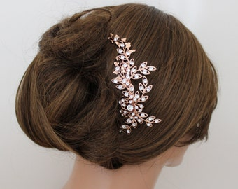 Rose Gold hair comb, Wedding headpiece, Bridal hair comb, Wedding hair accessories, Crystal hair comb, Leaf headpiece, Swarovski hair comb