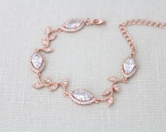 Bridal bracelet, Rose Gold bracelet, Bridal jewelry, Crystal bracelet, Wedding bracelet, Leaf bracelet, Bridesmaid bracelet, Wedding jewelry